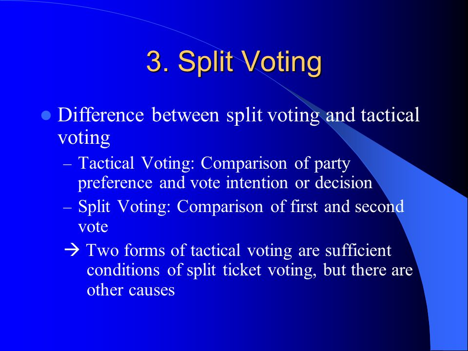 3. Split Voting Difference between split voting and tactical voting