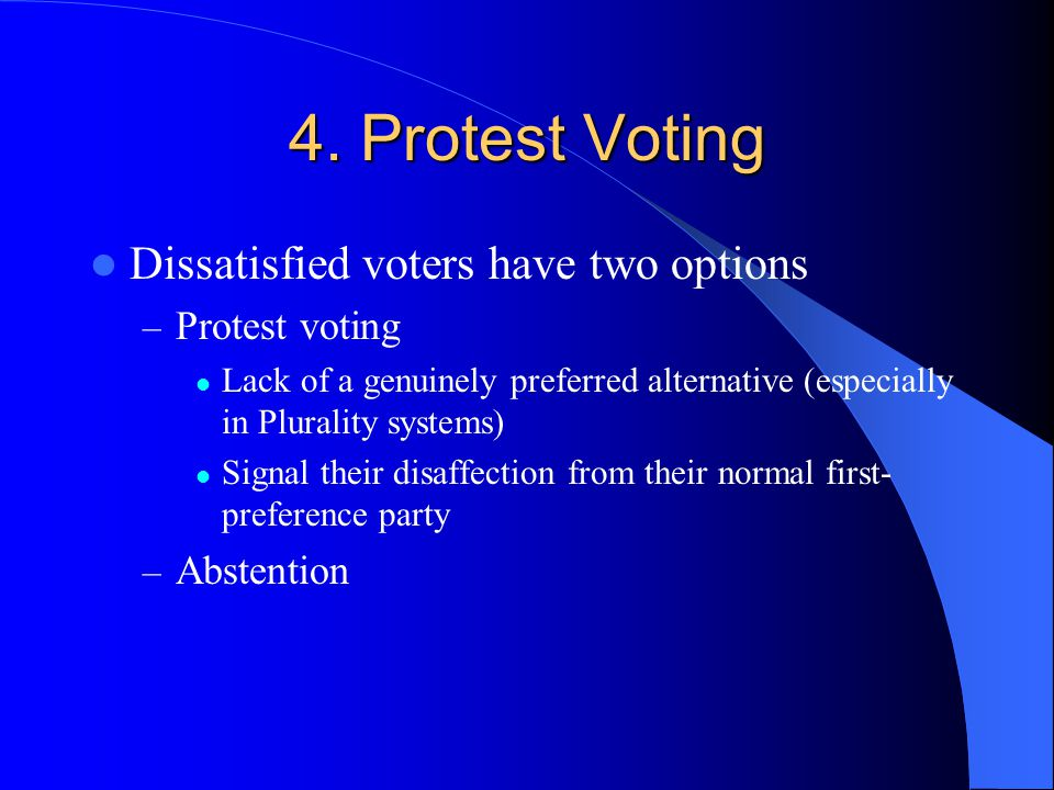 4. Protest Voting Dissatisfied voters have two options Protest voting