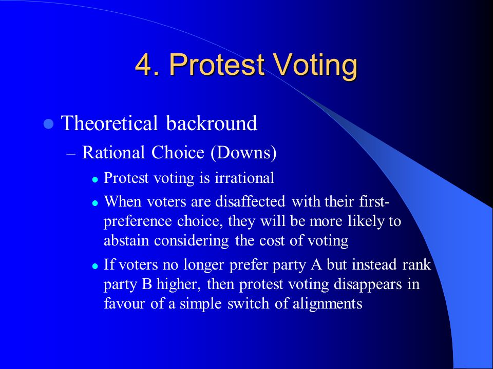4. Protest Voting Theoretical backround Rational Choice (Downs)
