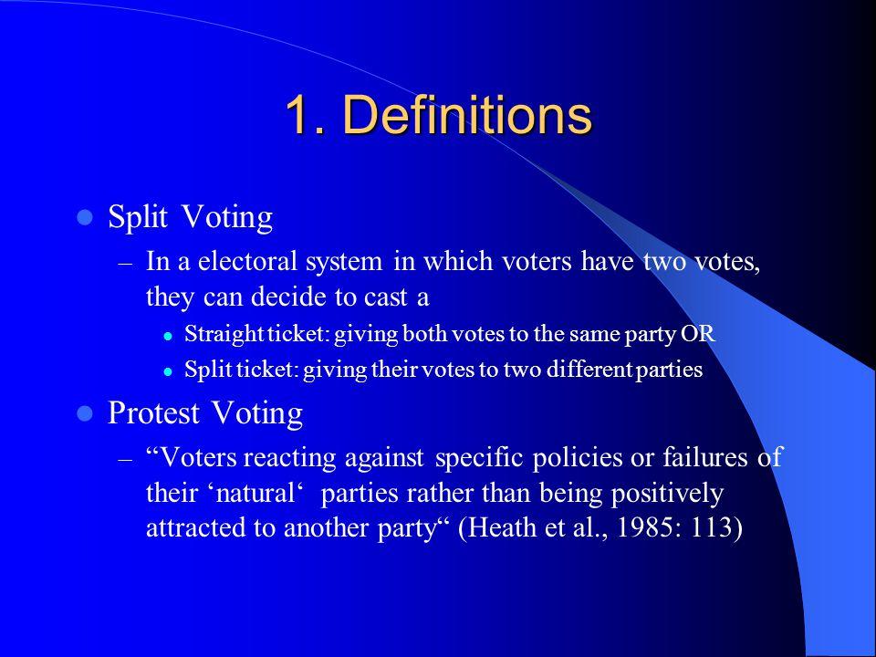 1. Definitions Split Voting Protest Voting