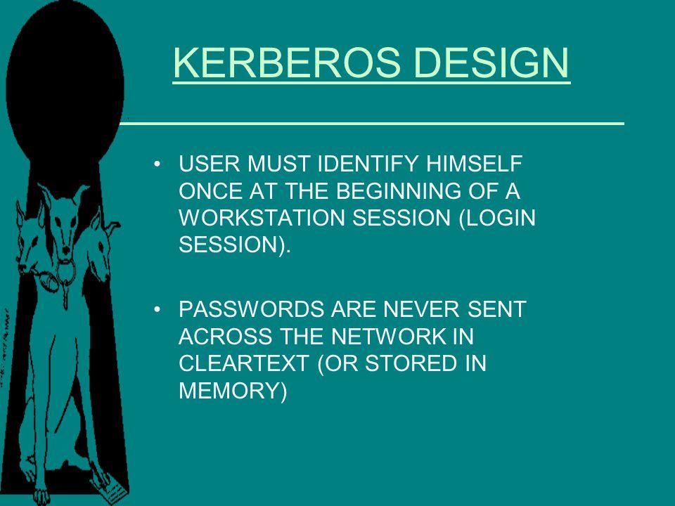 KERBEROS DESIGN USER MUST IDENTIFY HIMSELF ONCE AT THE BEGINNING OF A WORKSTATION SESSION (LOGIN SESSION).