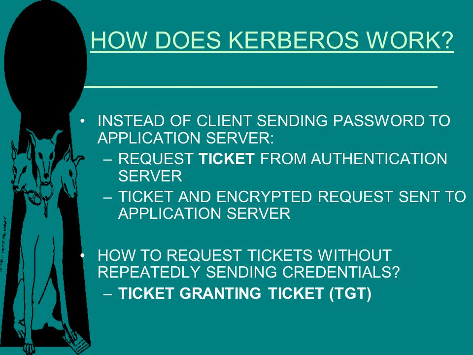 HOW DOES KERBEROS WORK INSTEAD OF CLIENT SENDING PASSWORD TO APPLICATION SERVER: REQUEST TICKET FROM AUTHENTICATION SERVER.