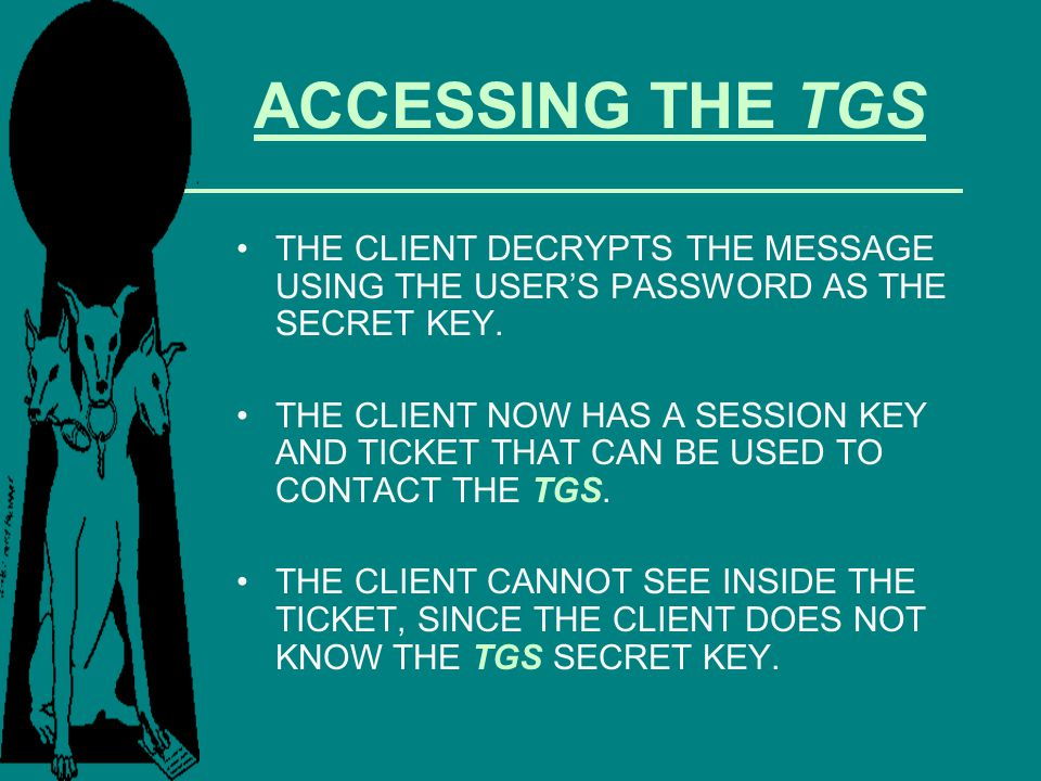 ACCESSING THE TGS THE CLIENT DECRYPTS THE MESSAGE USING THE USER'S PASSWORD AS THE SECRET KEY.