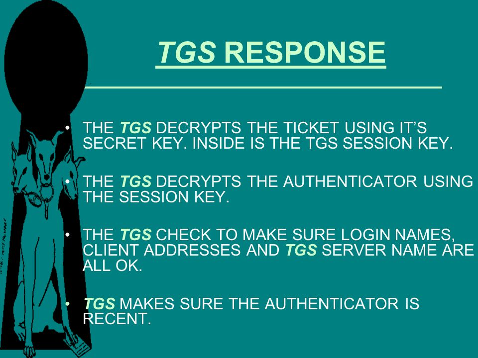 TGS RESPONSE THE TGS DECRYPTS THE TICKET USING IT'S SECRET KEY. INSIDE IS THE TGS SESSION KEY.