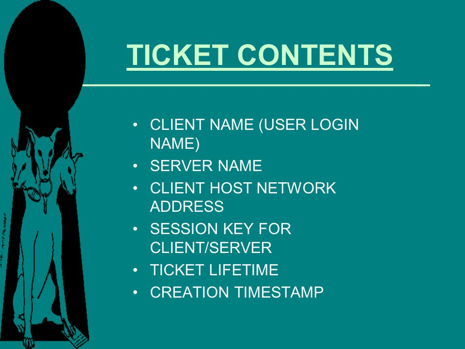 TICKET CONTENTS CLIENT NAME (USER LOGIN NAME) SERVER NAME