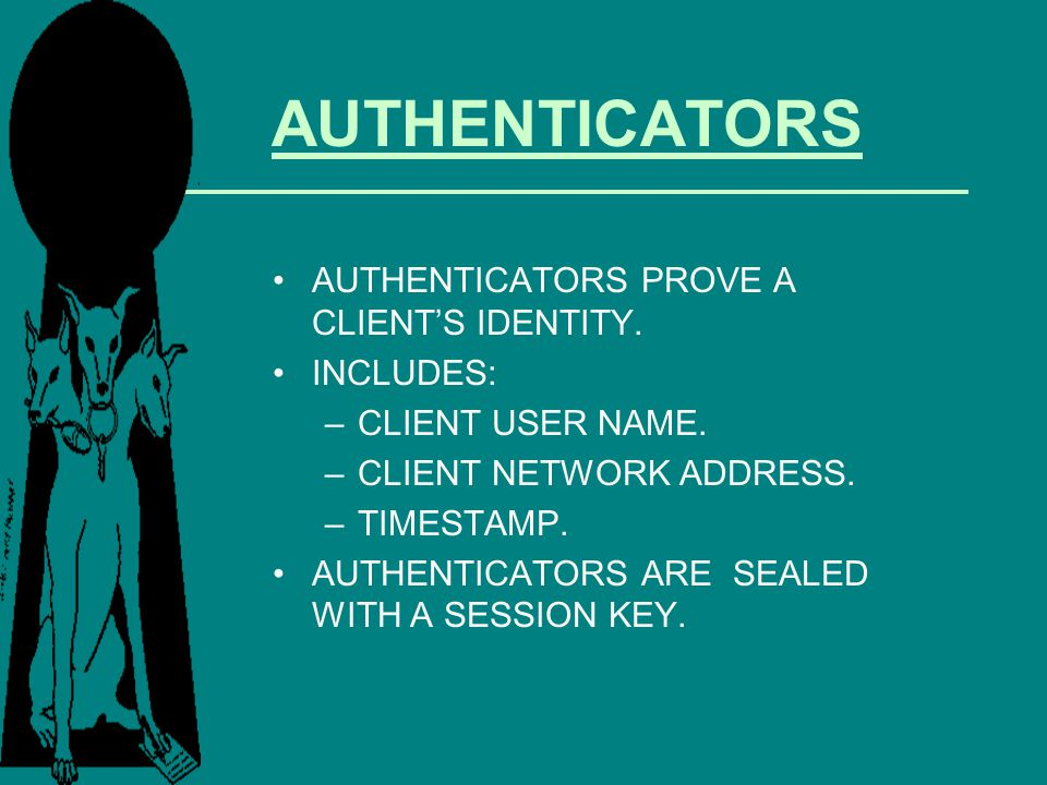 AUTHENTICATORS AUTHENTICATORS PROVE A CLIENT'S IDENTITY. INCLUDES: