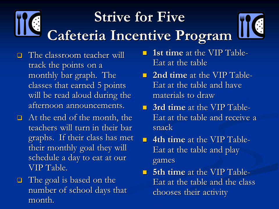 Strive for Five Cafeteria Incentive Program