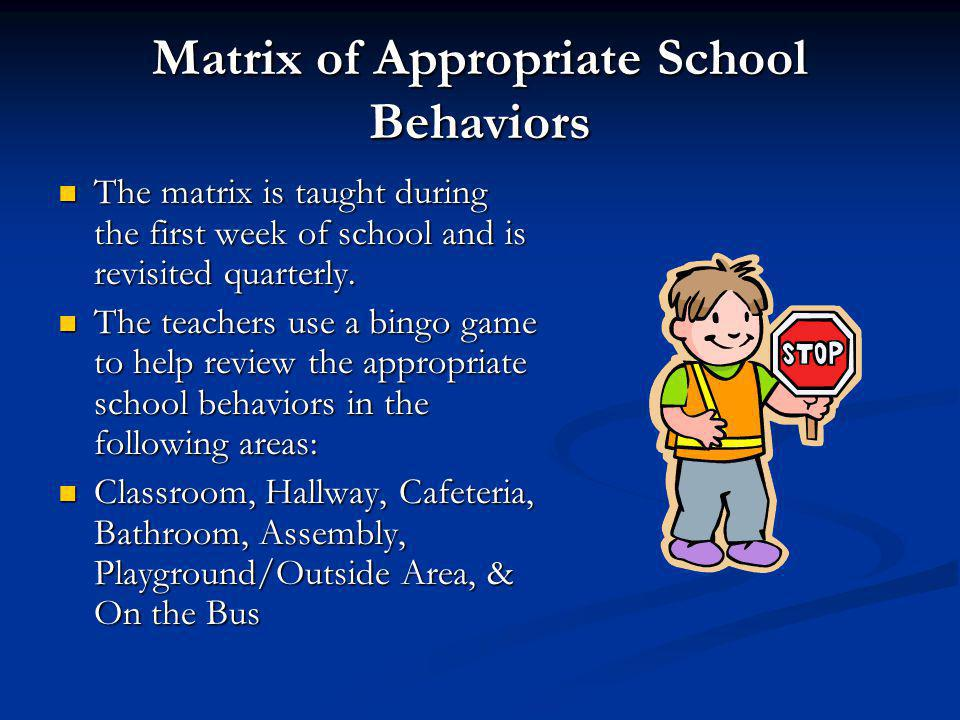 Matrix of Appropriate School Behaviors