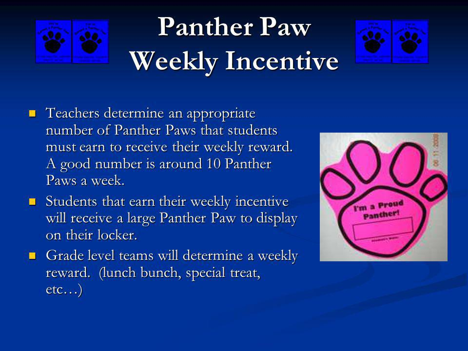 Panther Paw Weekly Incentive