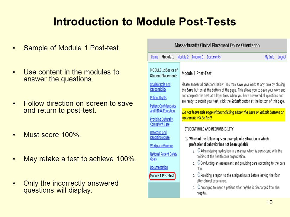 Introduction to Module Post-Tests