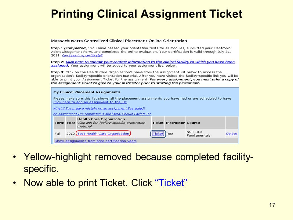 Printing Clinical Assignment Ticket