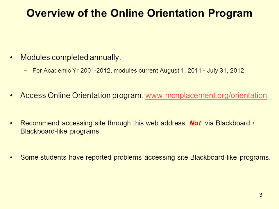 Overview of the Online Orientation Program
