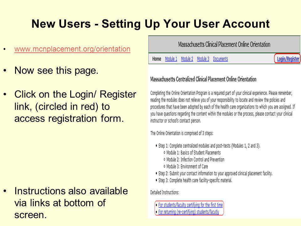 New Users - Setting Up Your User Account