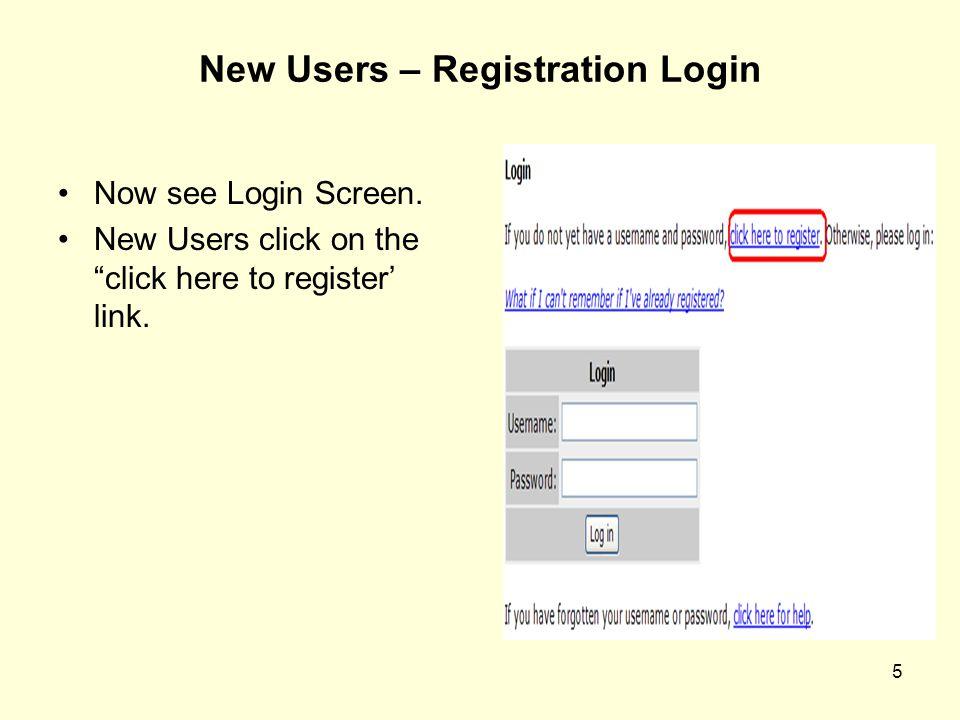 New Users – Registration Login