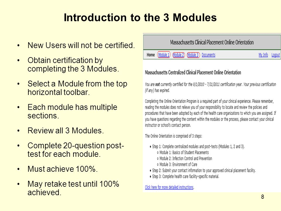 Introduction to the 3 Modules