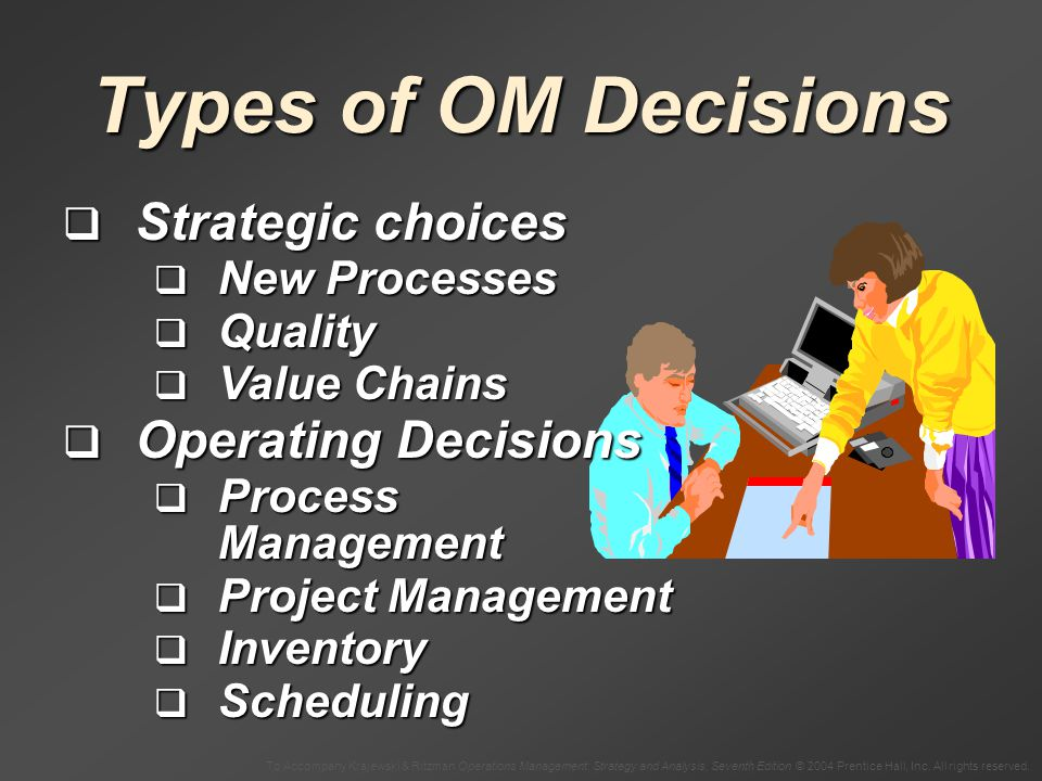 Types of OM Decisions Strategic choices Operating Decisions