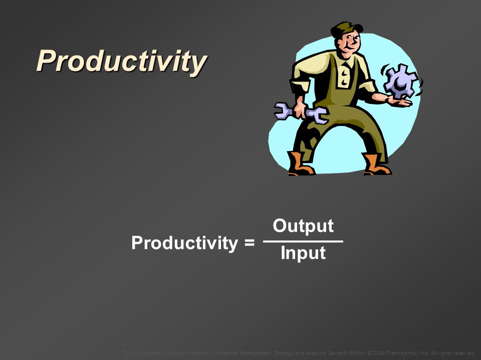 Productivity Output Input Productivity =