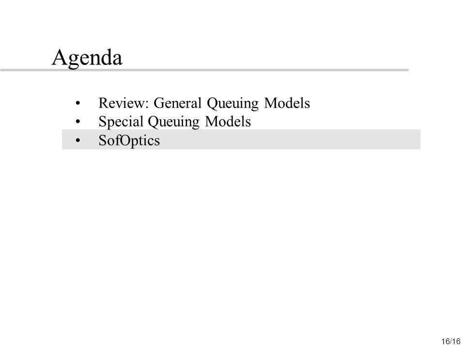 Agenda Review: General Queuing Models Special Queuing Models SofOptics