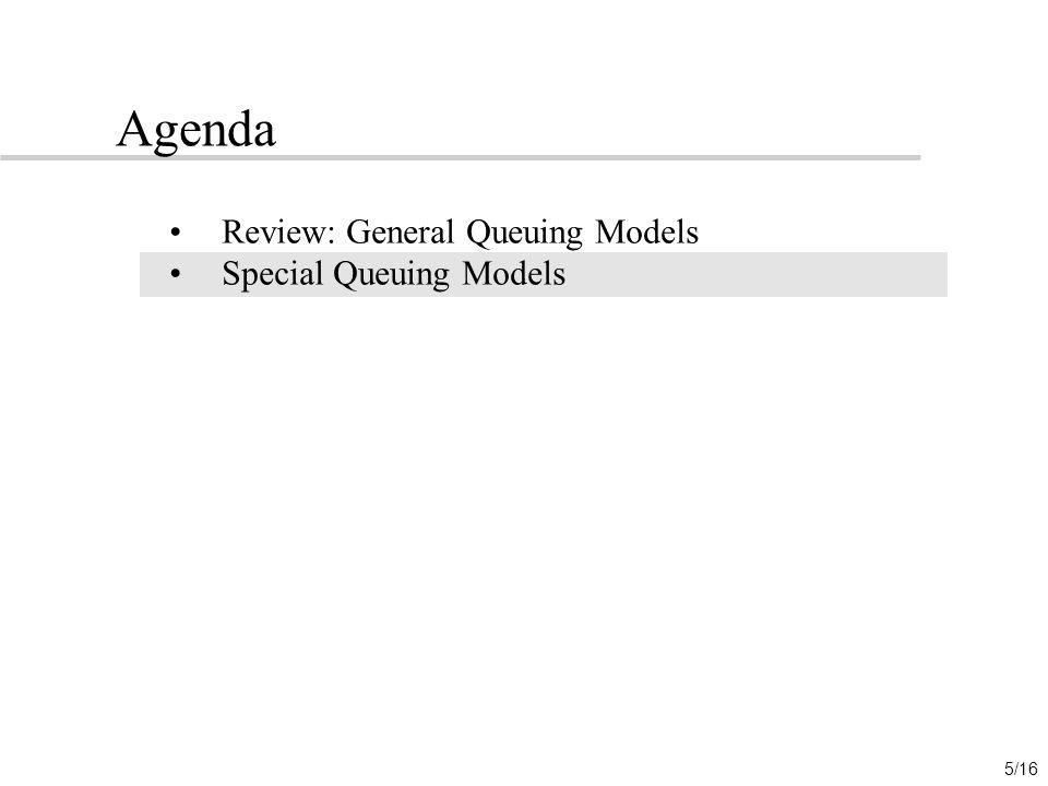 Agenda Review: General Queuing Models Special Queuing Models