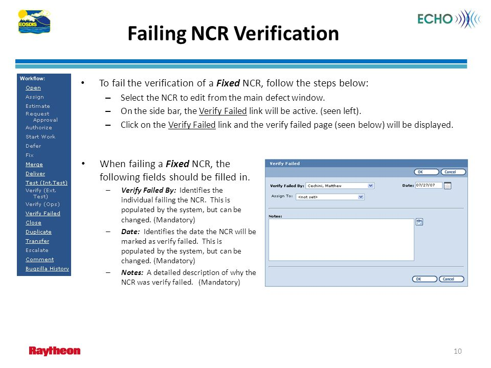 Failing NCR Verification