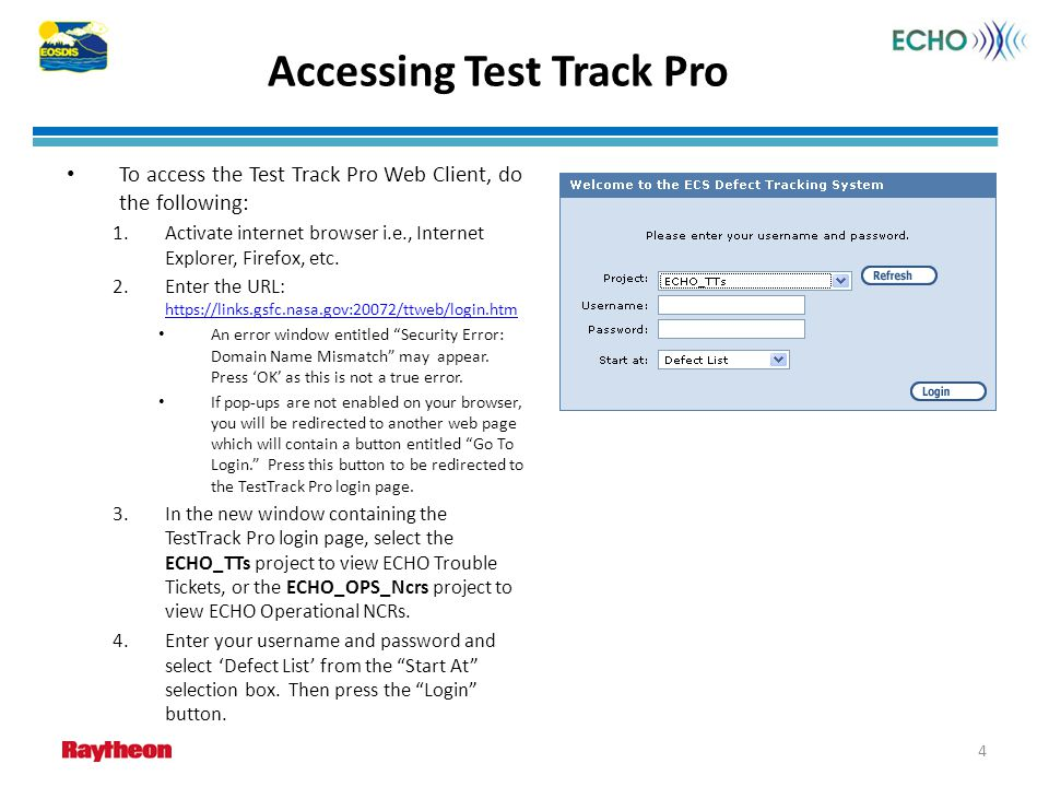 Accessing Test Track Pro
