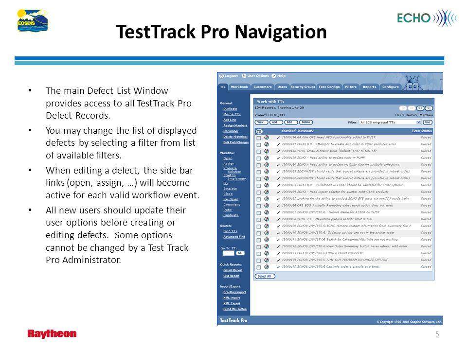 TestTrack Pro Navigation