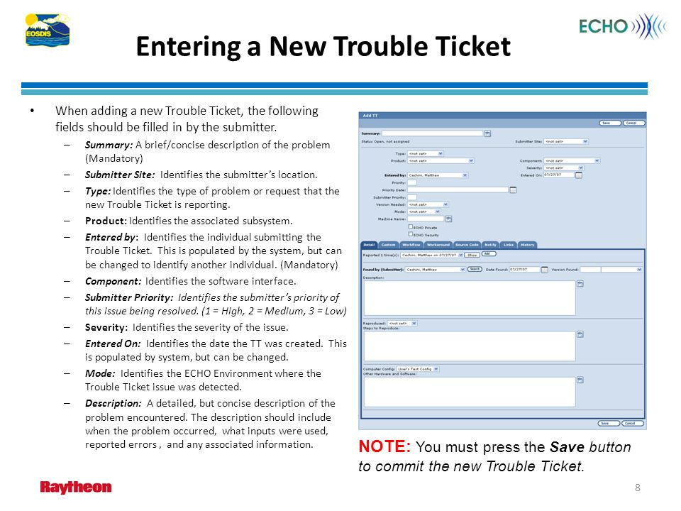Entering a New Trouble Ticket