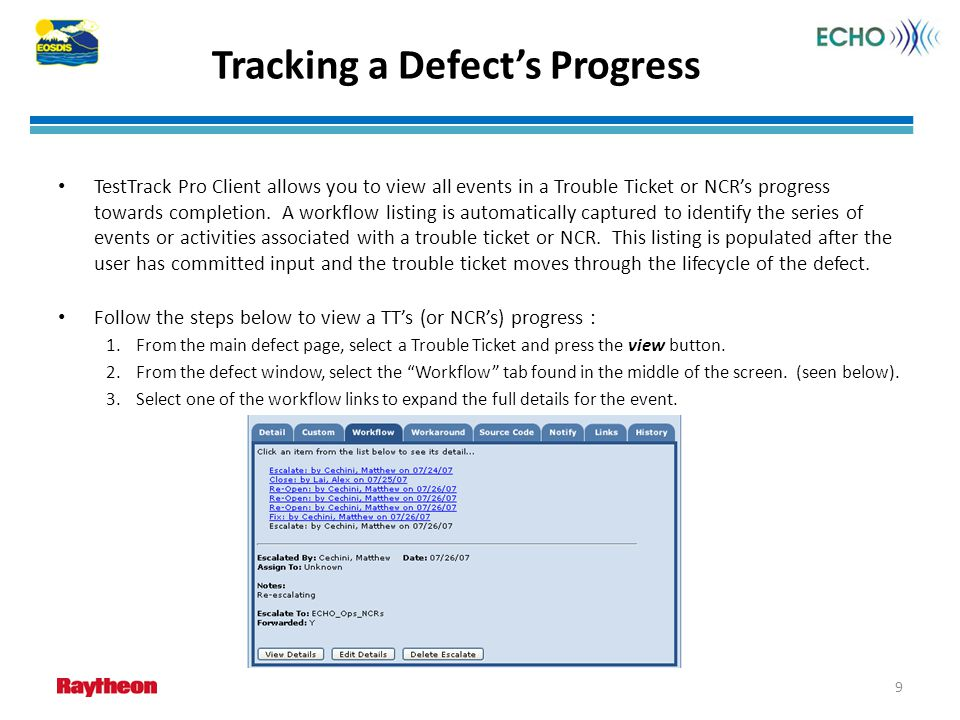 Tracking a Defect's Progress