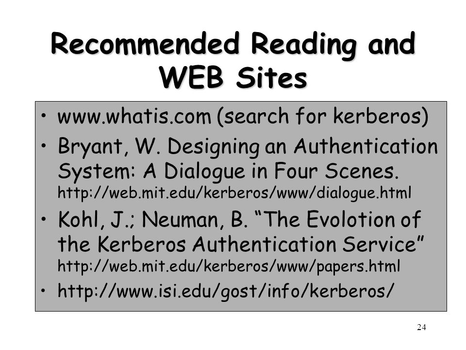 Recommended Reading and WEB Sites