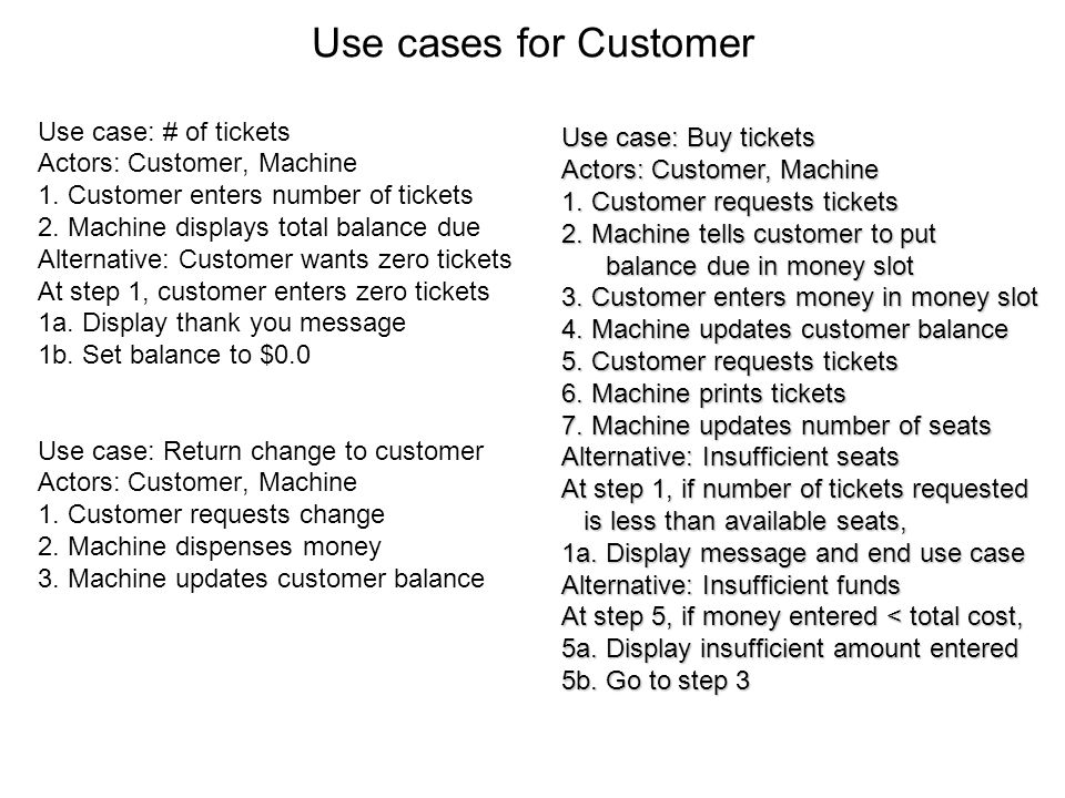 Use cases for Customer Use case: # of tickets