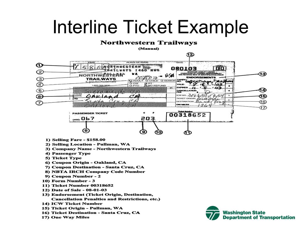 Interline Ticket Example