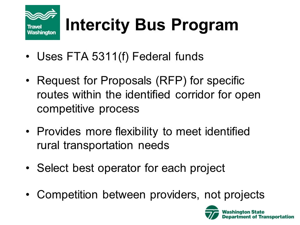 Intercity Bus Program Uses FTA 5311(f) Federal funds