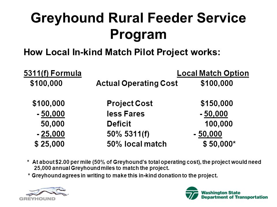 Greyhound Rural Feeder Service Program