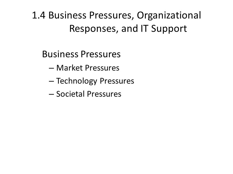 1.4 Business Pressures, Organizational Responses, and IT Support