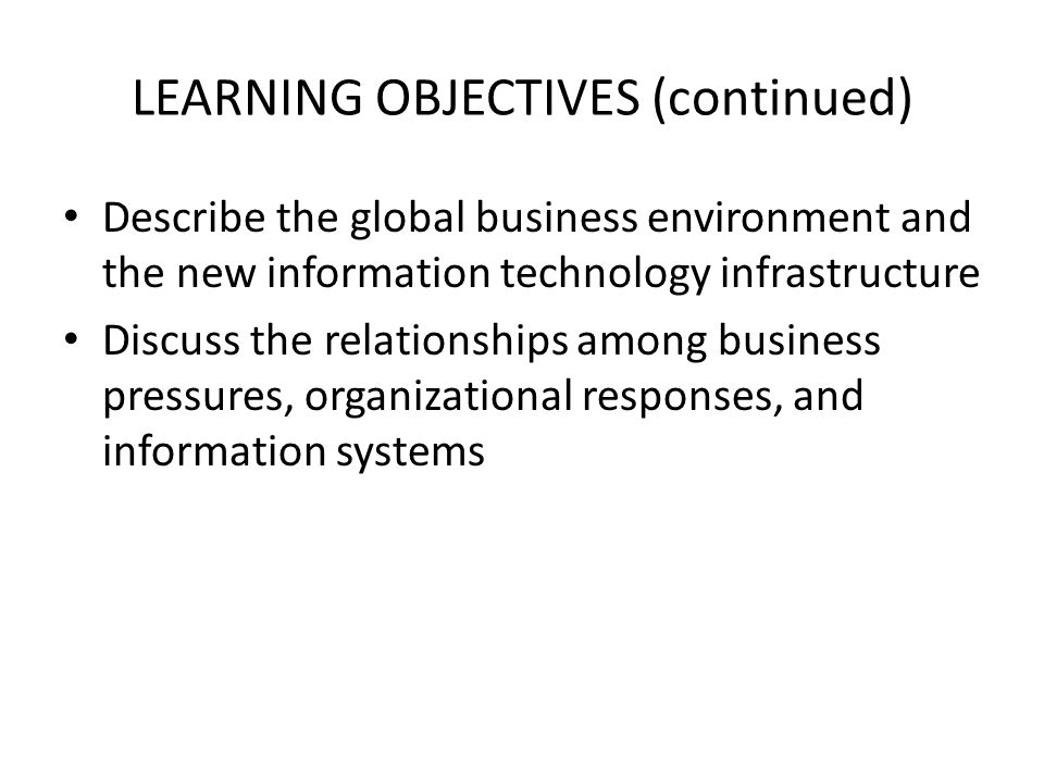 LEARNING OBJECTIVES (continued)