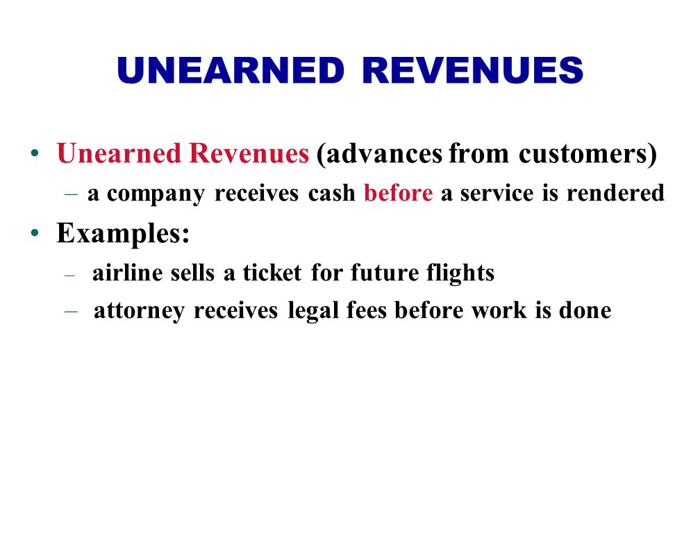 UNEARNED REVENUES Unearned Revenues (advances from customers)
