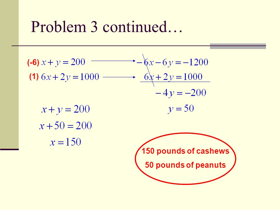 Problem 3 continued… (-6) (1) 150 pounds of cashews