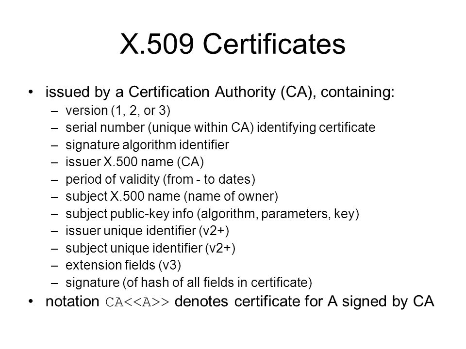 X.509 Certificates issued by a Certification Authority (CA), containing: version (1, 2, or 3)