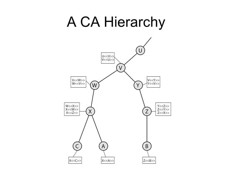 A CA Hierarchy Stallings Figure 14.5 illustrates the use of an X.509 hierarchy to mutually verify clients certificates.
