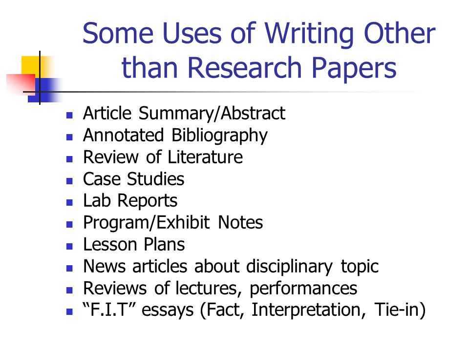 Some Uses of Writing Other than Research Papers