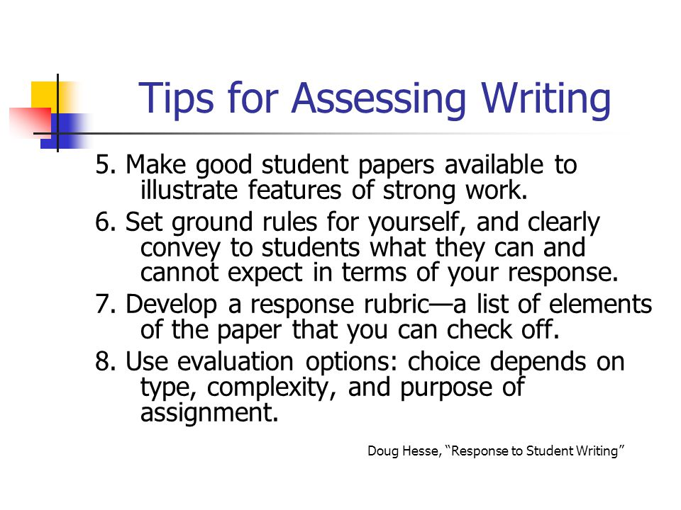 Tips for Assessing Writing