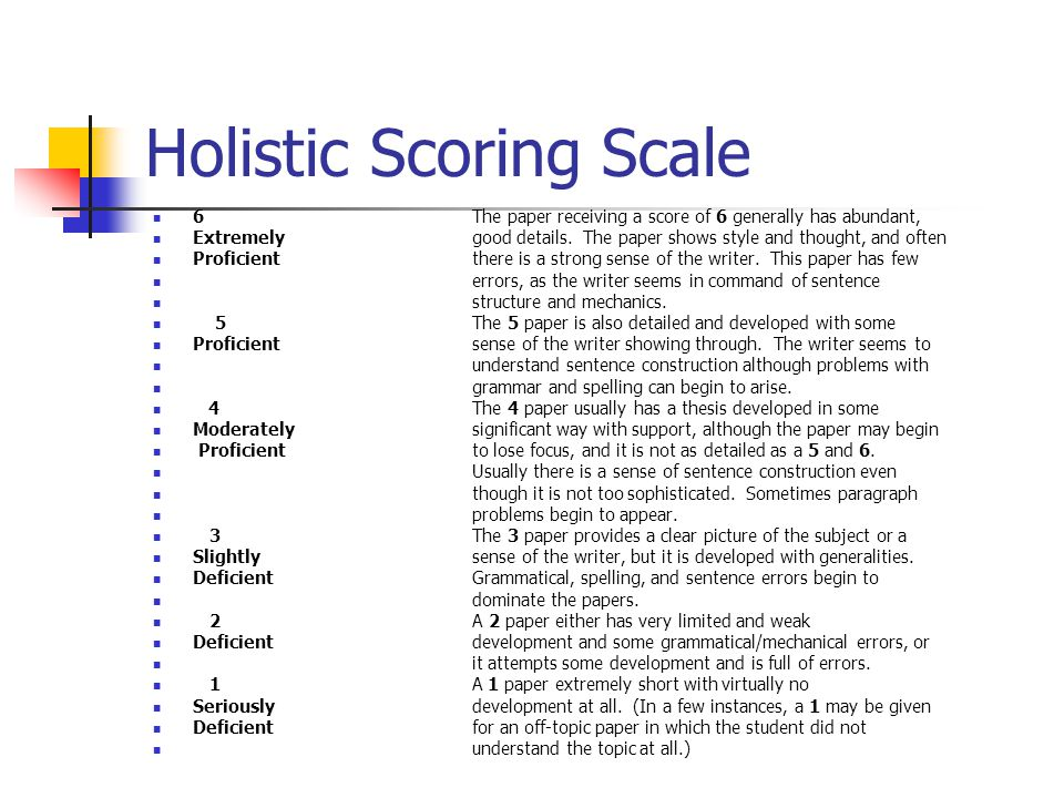 holistic scoring essay 1 - 6 The essay uses some analytical reasoning, but results typically are not as logically precise as the 5 or 6 holistic scoring guide.