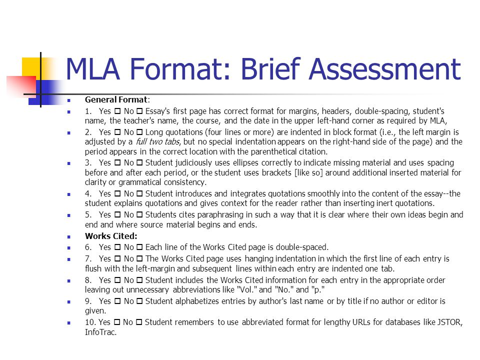 MLA Format: Brief Assessment