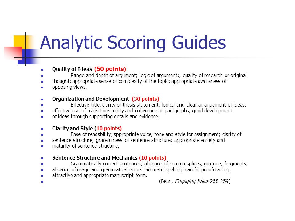 Analytic Scoring Guides
