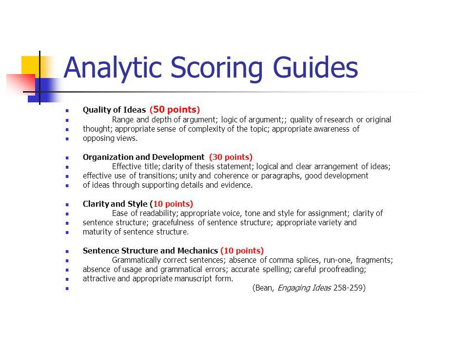 Analytic Scoring Guides