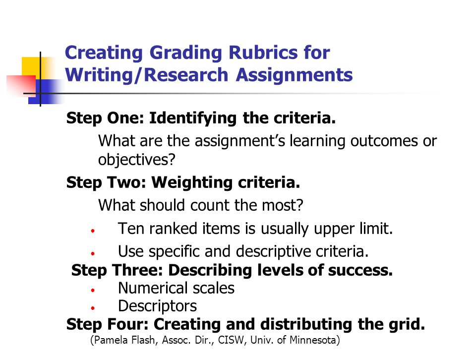 grading rubric for writing assignments Assigning writing and using rubrics to  pursuits—if we give them writing assignments that pose interesting problems and if we clearly and completely specify the.