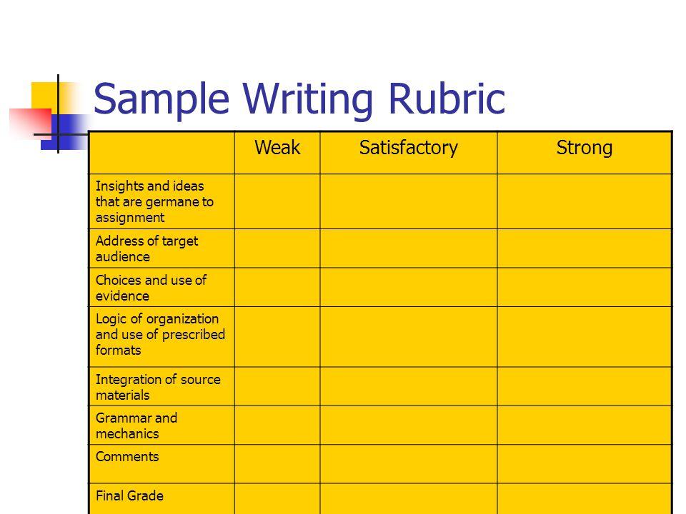 Sample Writing Rubric Weak Satisfactory Strong