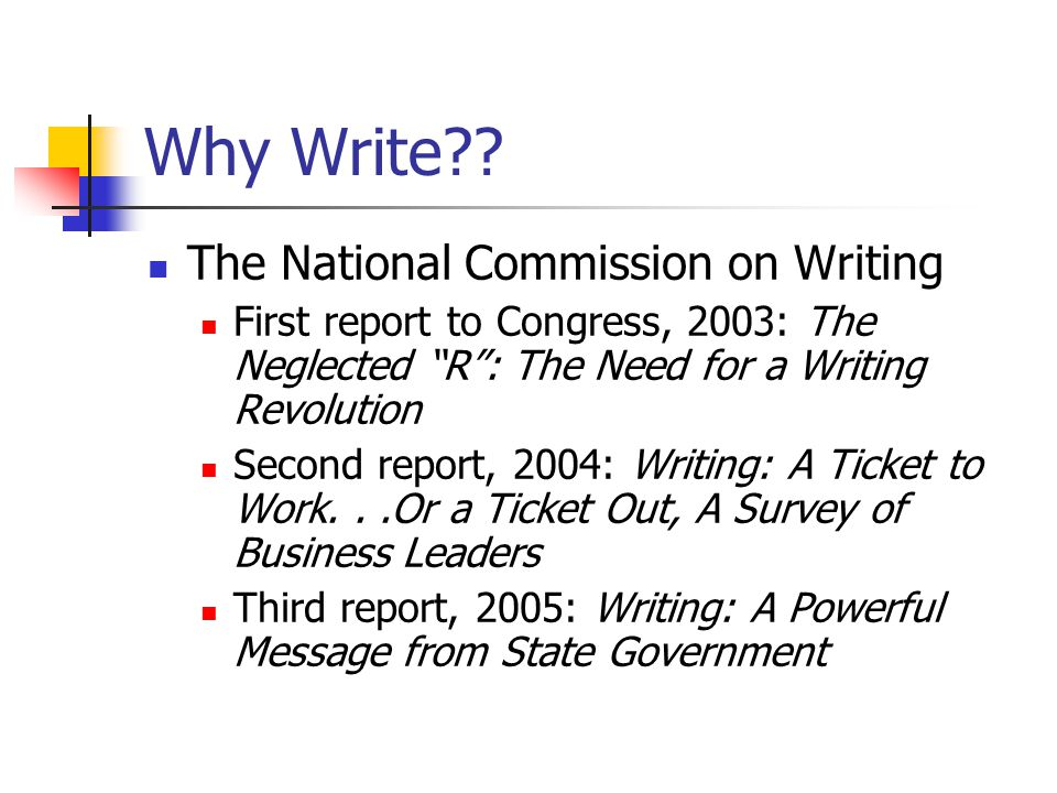 Why Write The National Commission on Writing