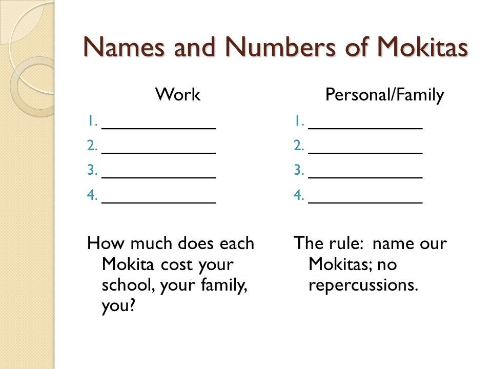 Names and Numbers of Mokitas