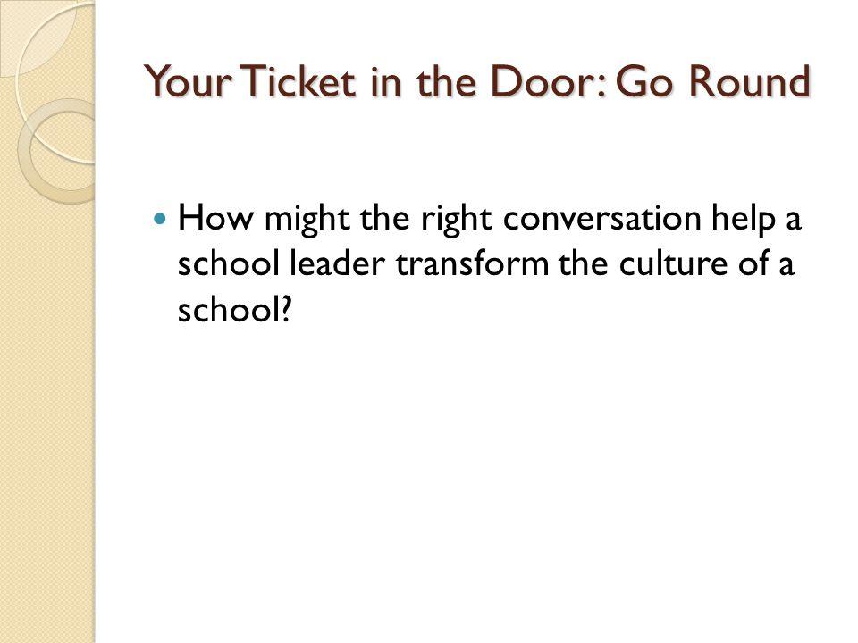 Your Ticket in the Door: Go Round